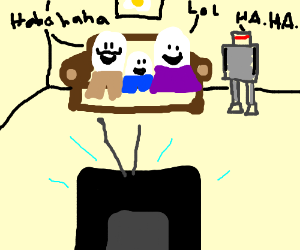 Egg family watching seinfeld with a robot!