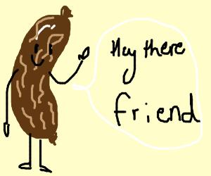 Wrinkled sausage is friendly