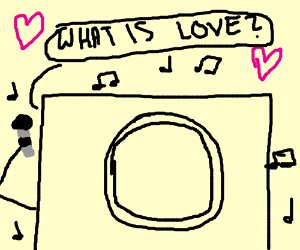 Washing machine sings a love song