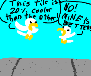 Two birds arguing on a tile to poop on