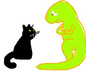 cat faces dinosaur