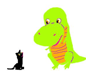 Black cat & T-Rex in a staring game.