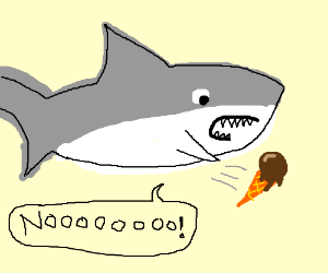 Shark accidently drops his ice cream