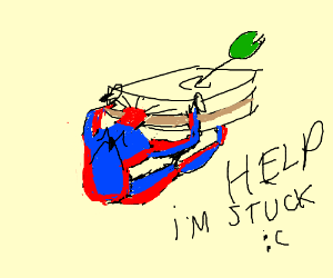 spiderman has his head stuck in a giant bread