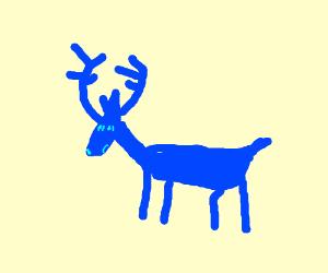 Blue deer walking down the wall