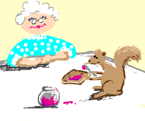 Brown squirrel makes toast and jam 4 Grandma