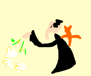 Gargamel casts spell on popcorn.