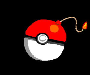The pokeball was actually a painted bomb!