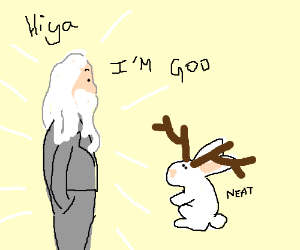 God in a suit visits with Jackalope Jesus.
