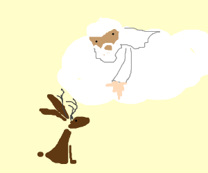 God introduces himself to a jackalope.