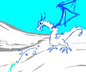 elsa taming a snow dragon