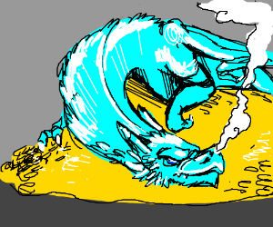 Dragon in ice fire.