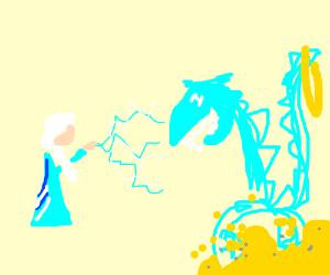 Elsa creates an Ice Smaug, he still LUVS gold.