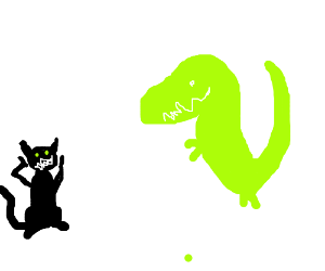 Black cat shocked by green Barney the dinosaur