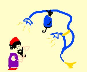 The genie gave aladdin beard!