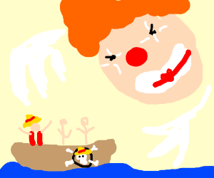 A giant evil clown head menaces Luffy's crew!