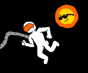 Sun checks out an astronaut.