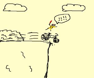 kill bill costumed guy drives off cliff
