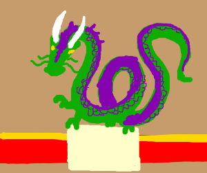 Chinese ancient statue: the green&purple dragon