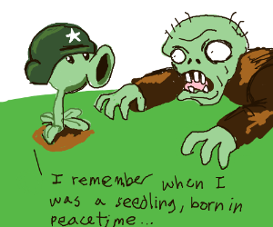 Plants vs Zombos Plant thinks about his life
