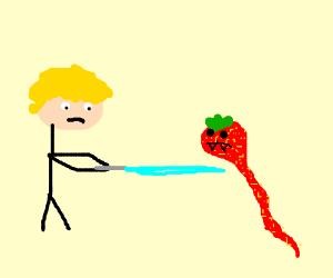 Luke slaying a snake strawberry