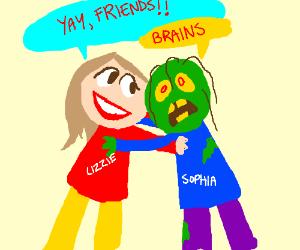 Lizzie makes friends with zombie Sophia.