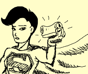 superwoman holds a frog head