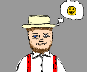 amish guy with hitler mustache thinks of happy
