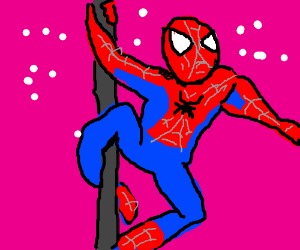 Spiderman working the pole.