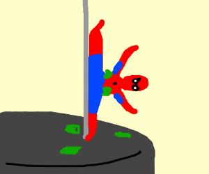 Spiderman pole dancing!