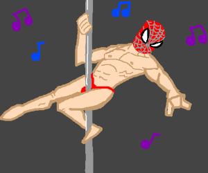 Spiderman's new career: Poledancer