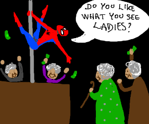 Sassy Spiderman poledances for geriatrics
