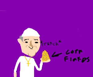 Pope Francis eating cornflakes with his hands