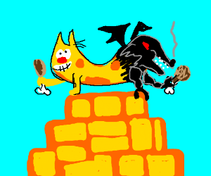 Cat-dragon eating chicken on top of temple.