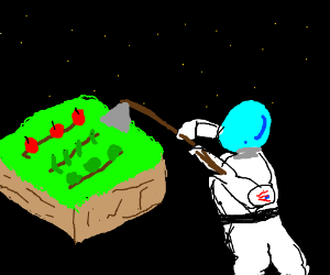 farmer in outer space