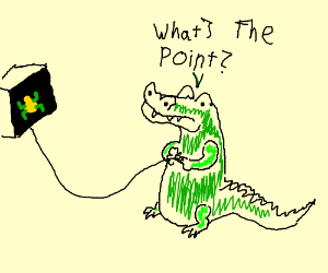 children's drawing of crocodile playing frogge