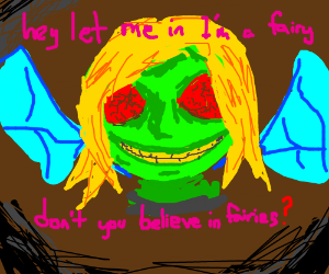 Terrifying green fairy with insectoid eyes