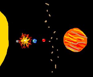 Venus explodes.