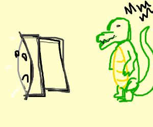 crocodilian stalks television