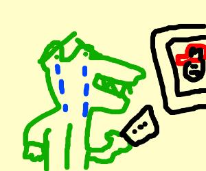 depressed alligator plays Nintendo