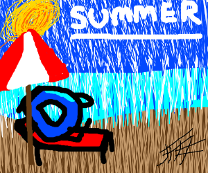 blue donut sunbathing in the rain