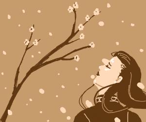 Elegant woman sees wntr. snows & spr. blooms