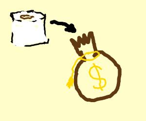 toilet paper in the money bag