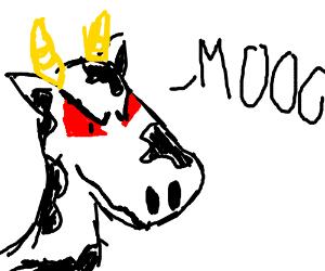 Evil cow laughs his evil cow laugh.