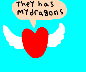 Heart with wings says they has my dragons