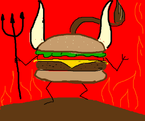 Burger bull devil in hell