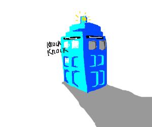 Invisible man knocking on TARDIS door