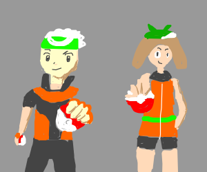 Brendan and May (Emerald Version outfits)