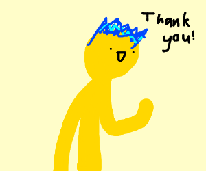 yellow person with pretty hair says thank you
