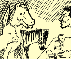 A donkey a horse and a zebra walk into a bar.